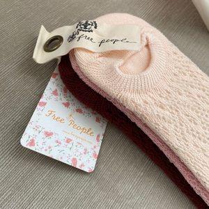 Free People Crochet Ankle Socks Set of 3 NWT
